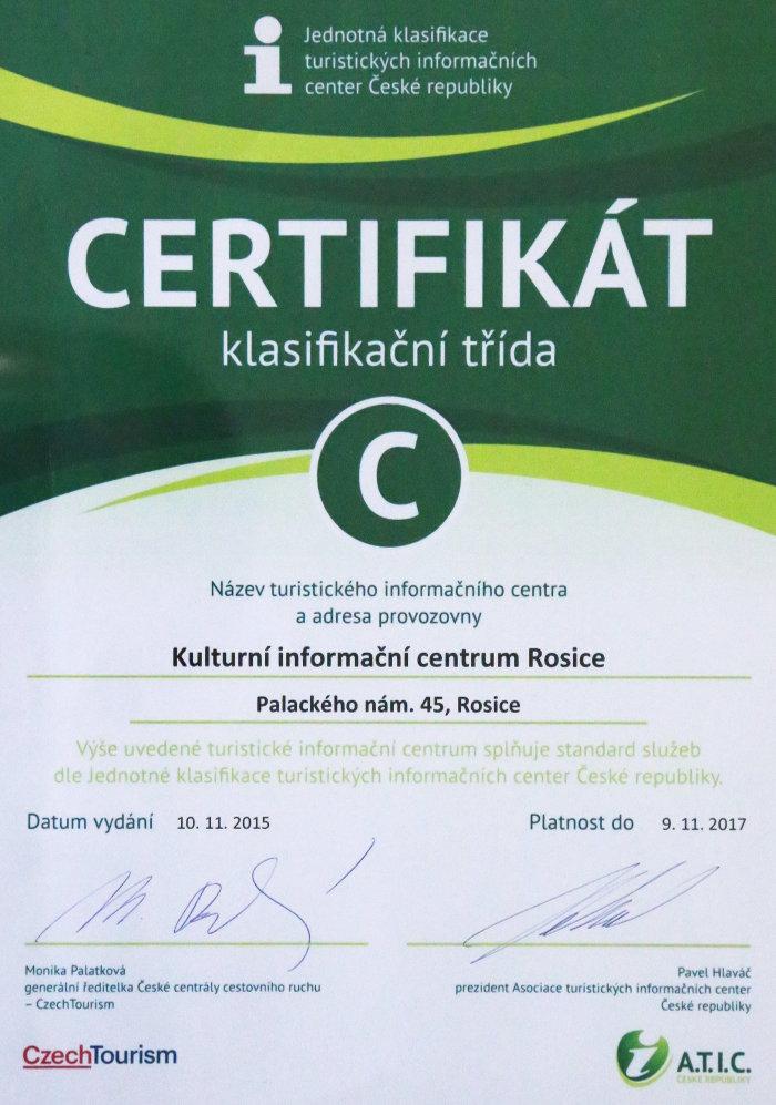 Certifikát informačního centra