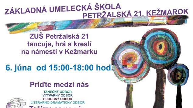 ZUŠ Petržalská - tancuje, hrá a kreslí na námestí v Kežmarku