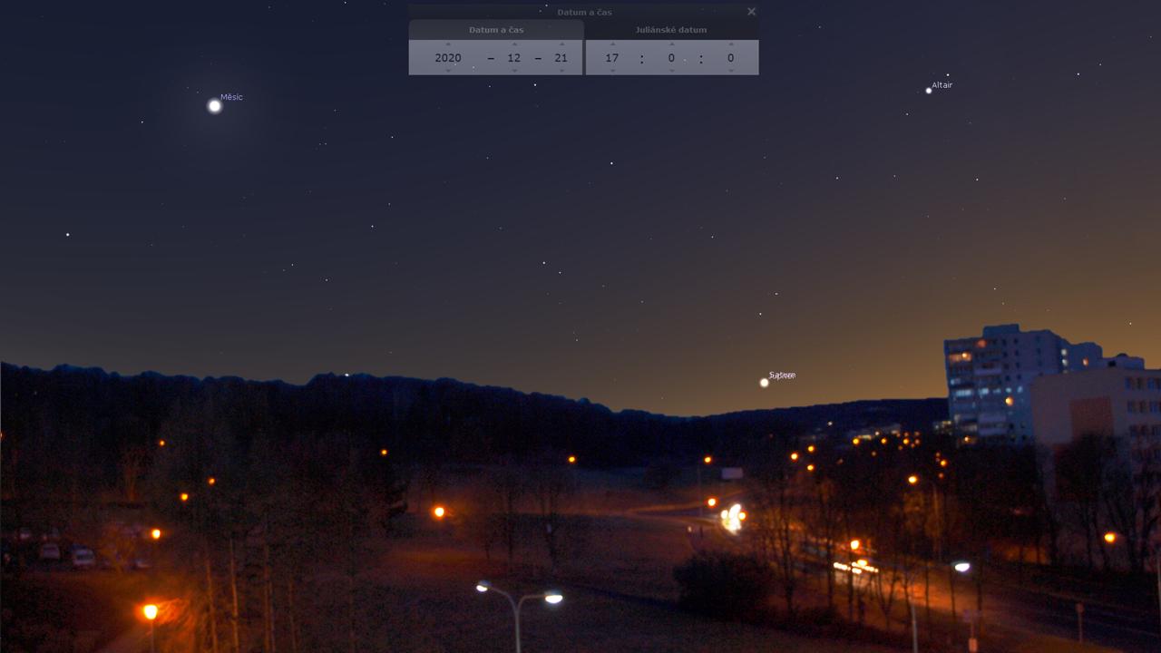 Simulace konjunkce při pohledu ze střechy knihovny