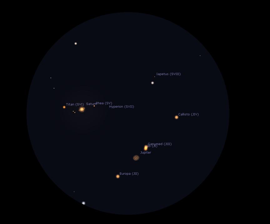 Měsíčně planetární shluk v dalekohledu - simulace