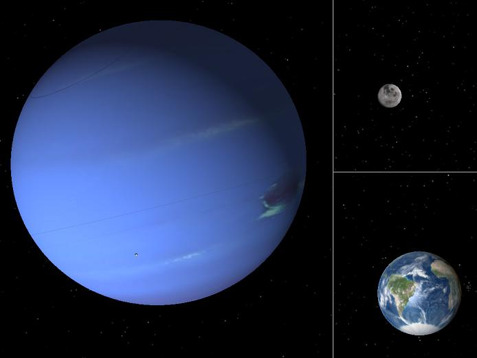 Neptun, Měsíc a Země - porovnání velikostí