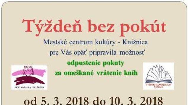 Týždeň slovenských knižníc - Týždeň bez pokút