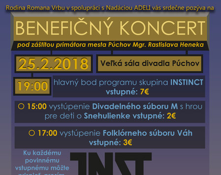BENEFIČNÝ KONCERT PRE ROMANA VRBU: INSTINCT (koncert)