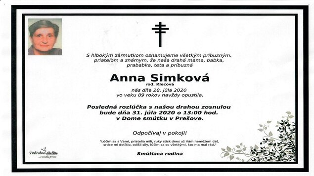 Zomrela bývalá herečka DAD Anna Simková / Вмерла бывша акторка ТАД Анна Симкова