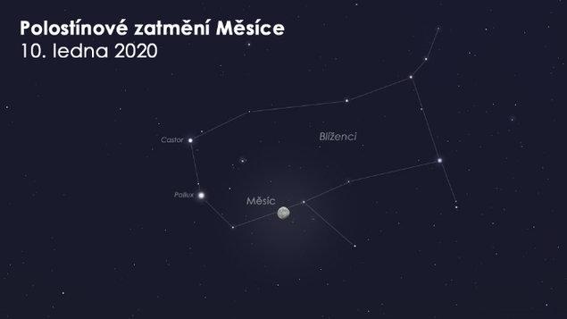 Pozorování polostínového zatmění Měsíce 10.1.2020