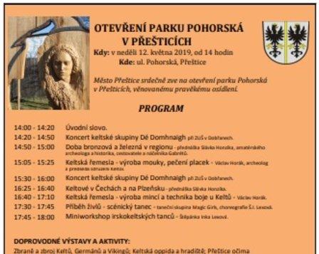 Otevření parku Pohorská v Přešticích