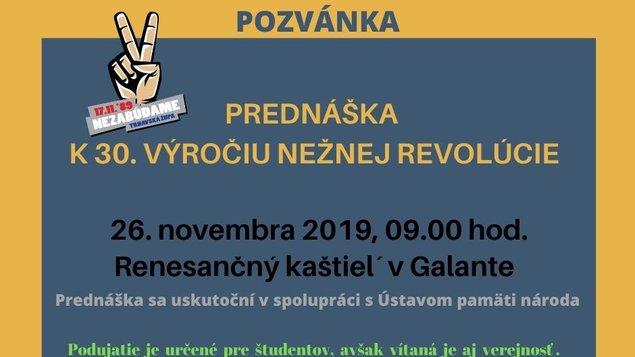 Prednáška k 30. výročiu Nežnej revolúcie