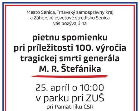 Pietna spomienka pri príležitosti 100. výročia tragickej smrti M.R.Štefánika