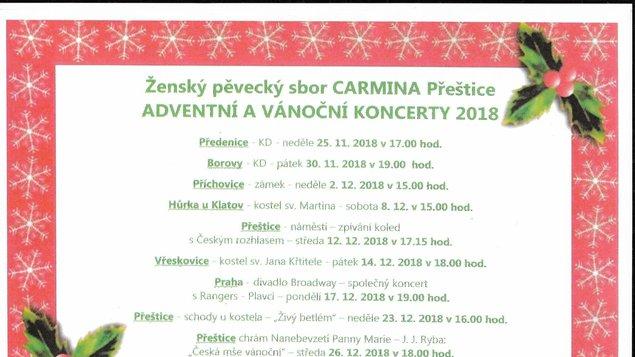 Vánoční koncert Carmina 2018